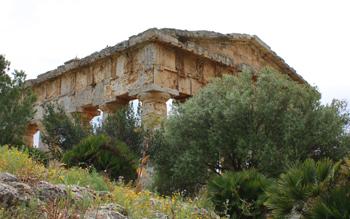 Tempio di Segesta immerso nella vegetazione